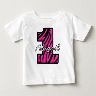 Camiseta Para Bebê T-shirt preto cor-de-rosa do bebê de um ano da