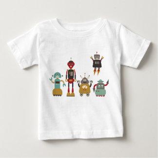 Camiseta Para Bebê T-shirt retro bonito dos miúdos dos robôs