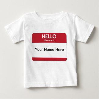 Camiseta Para Bebê T-shirt vermelho do bebê do nome de etiqueta