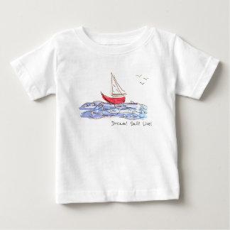 Camiseta Para Bebê T-shirt vivo do bebê das gaivotas do barco de mar