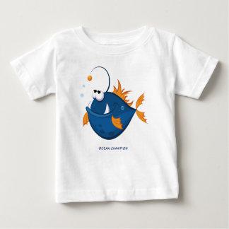 Camiseta Para Bebê Tamboril branco do oceano profundo