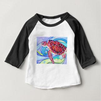 Camiseta Para Bebê Tartaruga de Surfin