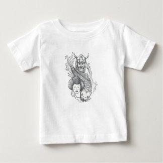 Camiseta Para Bebê Tatuagem da cabeça da gueixa da carpa de Viking