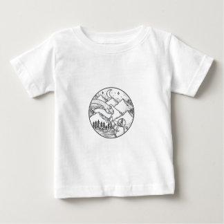 Camiseta Para Bebê Tatuagem do círculo da montanha do astronauta do