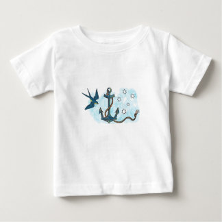 Camiseta Para Bebê Tatuagem do sul da estrela da andorinha da âncora