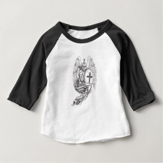 Camiseta Para Bebê Tatuagem espartano do rosário do protetor do anjo