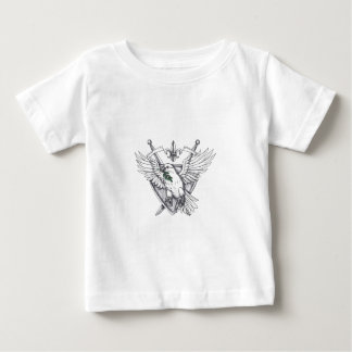 Camiseta Para Bebê Tatuagem verde-oliva da crista da espada da folha