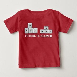 Camiseta Para Bebê Teclado futuro do bebê WASD do Gamer do PC