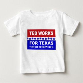 Camiseta Para Bebê Ted trabalha para o projeto branco de Texas e azul