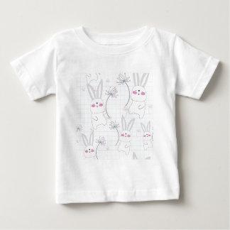 Camiseta Para Bebê Teste padrão bonito bonito do cinza azul do coelho