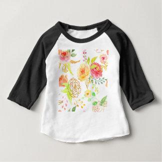 Camiseta Para Bebê Teste padrão cor-de-rosa do pêssego e do ouro da