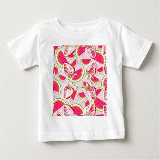 Camiseta Para Bebê Teste padrão da festa do melão das morangos