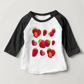 Camiseta Para Bebê Teste padrão da fruta da morango