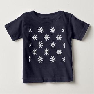 Camiseta Para Bebê Teste padrão da roda do navio náutico