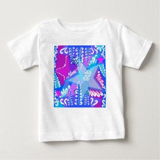 Camiseta Para Bebê Teste padrão de estrelas crescente