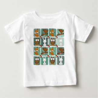 Camiseta Para Bebê Teste padrão do bloco dos animais da floresta