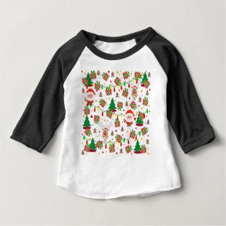 Camiseta Para Bebê Teste padrão do papai noel e do Rudolph