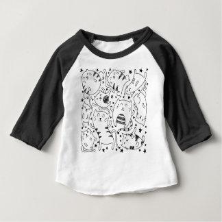 Camiseta Para Bebê Teste padrão esboçado engraçado do doodle dos