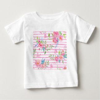 Camiseta Para Bebê Teste padrão floral cor-de-rosa da aguarela com