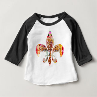 Camiseta Para Bebê Teste padrão floral da jóia de Fleur di lis Flor