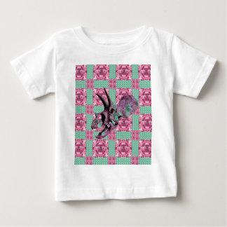 Camiseta Para Bebê Teste padrão geométrico do crânio cor-de-rosa do