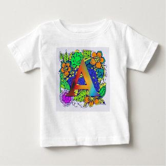 Camiseta Para Bebê Teste padrão monogrammed floral colorido bonito de