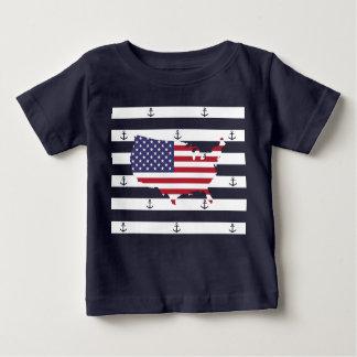 Camiseta Para Bebê Teste padrão náutico americano das listras da