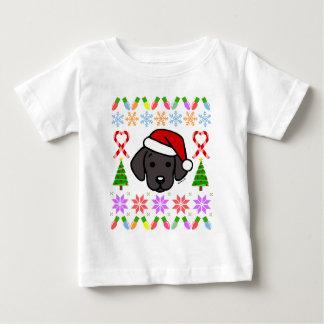 Camiseta Para Bebê Teste padrão preto do Natal do filhote de cachorro