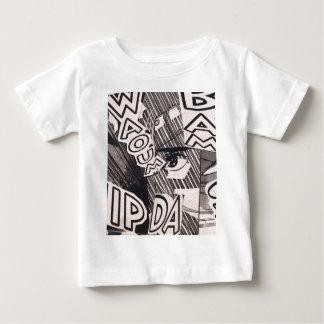 Camiseta Para Bebê Teste padrão preto e branco da história em