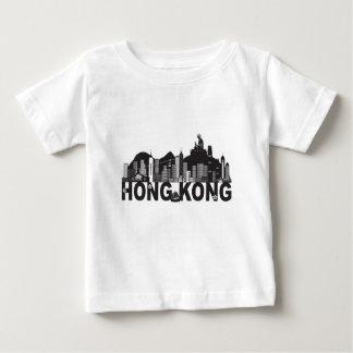 Camiseta Para Bebê Texto da estátua de Buddha da skyline de Hong Kong