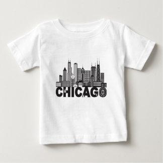 Camiseta Para Bebê Texto da skyline da cidade de Chicago preto e