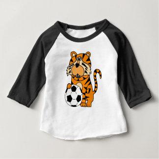 Camiseta Para Bebê Tigre bonito rujir que joga a arte dos desenhos