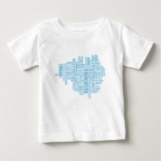 Camiseta Para Bebê Tipo azul mapa de maior Manchester