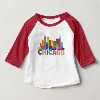 Camiseta Para Bebê Tipografia da skyline da cidade de Chicago