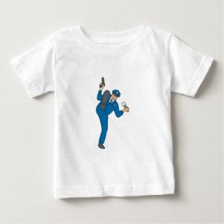 Camiseta Para Bebê Tocha da lanterna elétrica da arma do polícia que