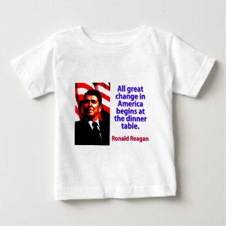 Camiseta Para Bebê Toda a grande mudança em América - Ronald Reagan