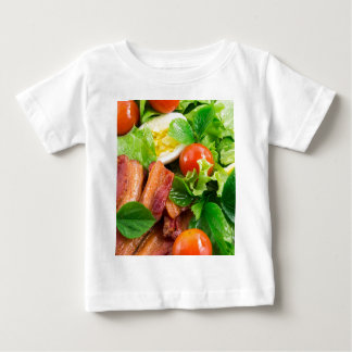 Camiseta Para Bebê Tomates de cereja, ervas, azeite, ovos e bacon