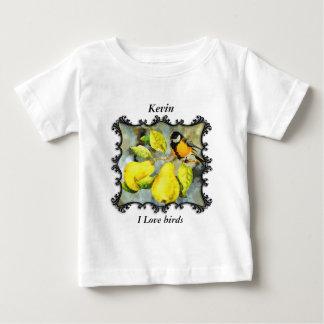 Camiseta Para Bebê Tordos dos remedos amarelos pretos e amarelos
