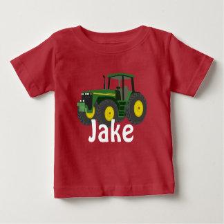 Camiseta Para Bebê Trator verde personalizado