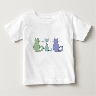Camiseta Para Bebê Três gatos coloridos