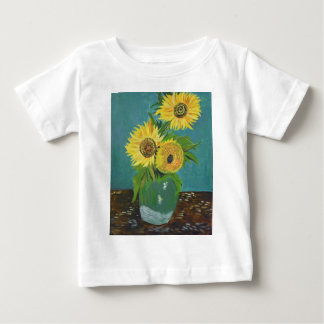 Camiseta Para Bebê Três girassóis em um vaso, Van Gogh