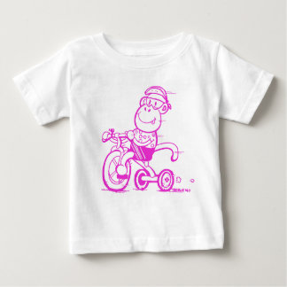 Camiseta Para Bebê Triciclo Pedalling do macaco do bebê