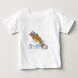 Camiseta Para Bebê Truta de Brown que nada acima do desenho