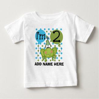 Camiseta Para Bebê Tshirt azul personalizado do segundo aniversário