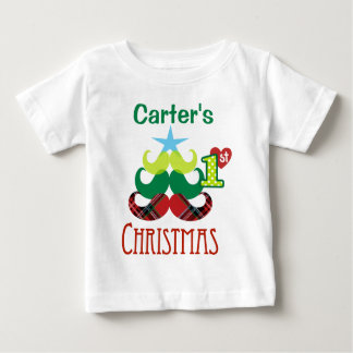Camiseta Para Bebê Tshirt da árvore do bigode do Natal do bebê ø