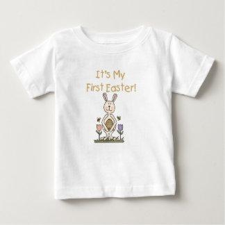 Camiseta Para Bebê Tshirt da páscoa do coelho do menino primeiro