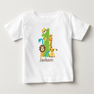 Camiseta Para Bebê Tshirt da selva do primeiro aniversario