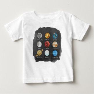 Camiseta Para Bebê TShirt do bebê da aguarela do sistema solar