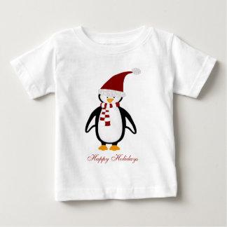 Camiseta Para Bebê Tshirt do bebê do pinguim do Natal