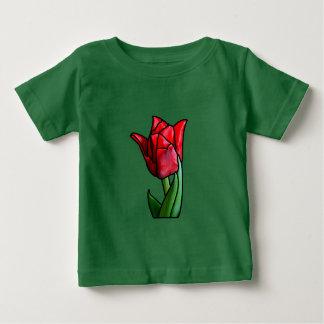 Camiseta Para Bebê Tulipa vermelha exótica do vitral